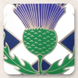 Flag of Scotland and Thistle Beverage Coaster