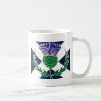 Flag of Scotland and Thistle Coffee Mug
