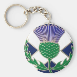 Flag of Scotland and Thistle Keychain