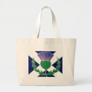 Flag of Scotland and Thistle Large Tote Bag