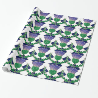 Flag of Scotland and Thistle Wrapping Paper