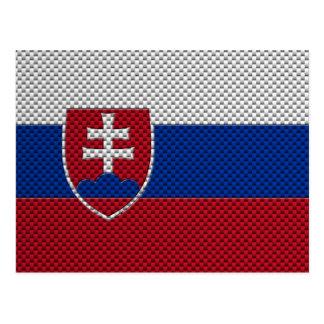 Flag of Slovakia with Carbon Fiber Effect Postcard
