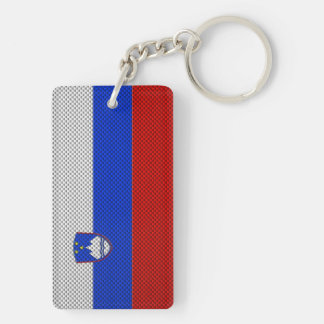 Flag of Slovenia with Carbon Fiber Effect Keychain