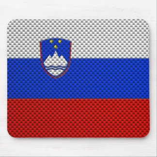 Flag of Slovenia with Carbon Fiber Effect Mouse Pad