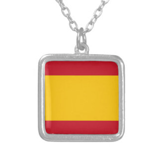 Flag of Spain, Bandera de España, Bandera Española Silver Plated Necklace