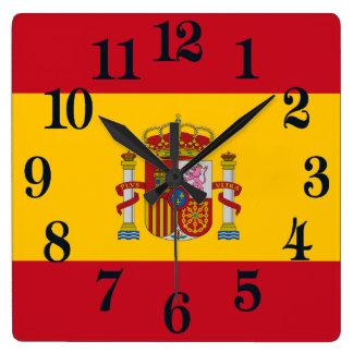 Flag of Spain - Bandera de Espana Square Wall Clock