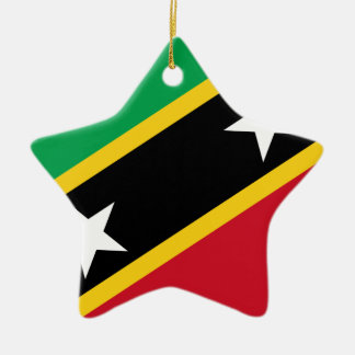 Flag Of St. Kitts And Nevis Ceramic Star Ornament