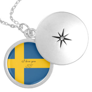 Flag of Sweden Silver Plated Necklace