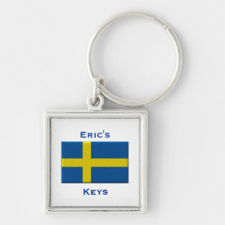 Flag of Sweden Swedish Custom Name Personalized Silver-Colored Square Keychain