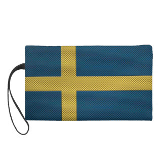 Flag of Sweden with Carbon Fiber Effect Wristlet