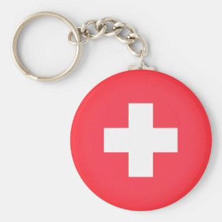 Flag of Switzerland Basic Round Button Keychain