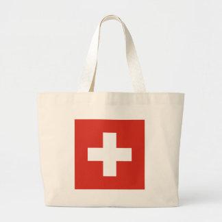 Flag of Switzerland Die Nationalflagge der Schweiz Large Tote Bag