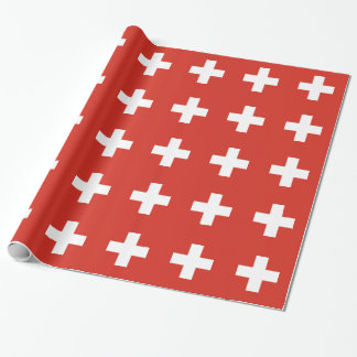 Flag of Switzerland Die Nationalflagge der Schweiz Wrapping Paper