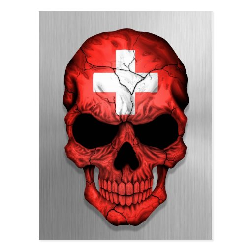 Flag of Switzerland on a Steel Skull Graphic Post Card
