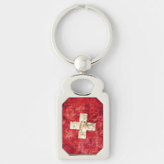 Flag of Switzerland Silver-Colored Rectangle Keychain