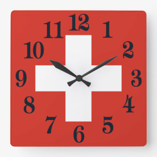 Flag of Switzerland Square Wall Clock