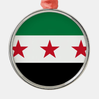 Flag of Syria - Syrian Independence flag Silver-Colored Round Ornament