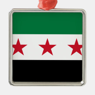 Flag of Syria - Syrian Independence flag Silver-Colored Square Ornament