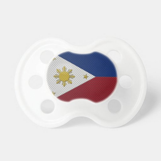 Flag of The Philippines with Carbon Fiber Effect Baby Pacifiers