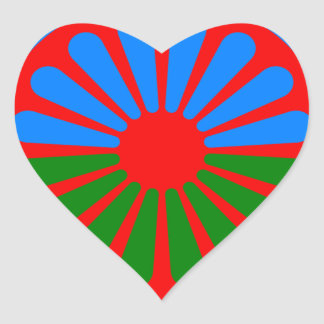 Flag of the Romani people - Romani flag Heart Sticker