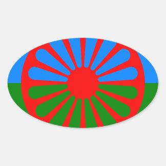 Flag of the Romani people - Romani flag Oval Sticker