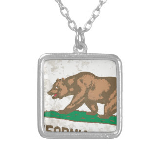 Flag of the State of California Grunge Silver Plated Necklace