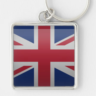 Flag of the United Kingdom Silver-Colored Square Keychain