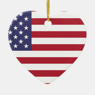 Flag of the United States Ceramic Heart Ornament