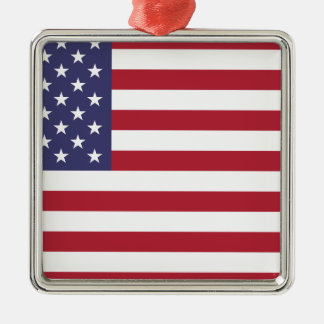 Flag of the United States Silver-Colored Square Ornament