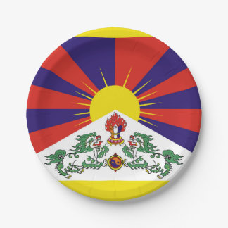 Flag of Tibet  or Snow Lion Flag Paper Plate