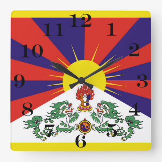 Flag of Tibet  or Snow Lion Flag Square Wall Clock