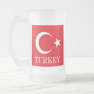 Flag of Turkey Frosted Glass Beer Mug
