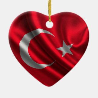 Flag of Turkey, Turkish Flag Ceramic Heart Ornament