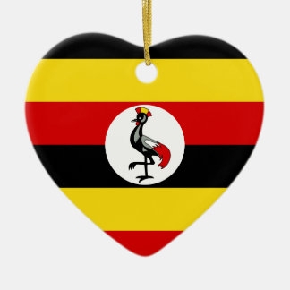 Flag of Uganda Ceramic Heart Ornament