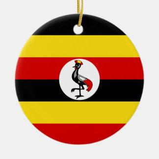 Flag of Uganda Round Ceramic Ornament