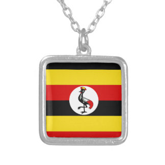 Flag of Uganda Silver Plated Necklace