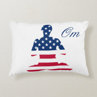 Flag of USA meditation American yoga Accent Pillow