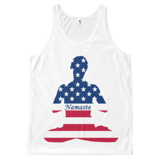 Flag of USA meditation American yoga All-Over-Print Tank Top