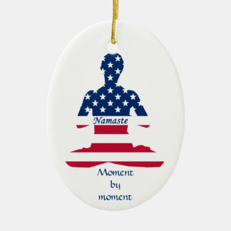 Flag of USA meditation American yoga Ceramic Ornament