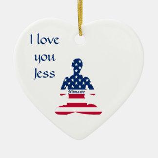 Flag of USA meditation American yoga Ceramic Ornament