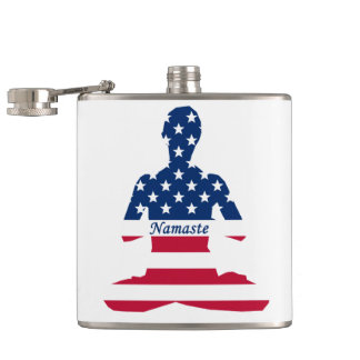 Flag of USA meditation American yoga Hip Flask