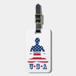Flag of USA meditation American yoga Luggage Tag