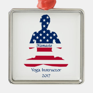 Flag of USA meditation American yoga Metal Ornament