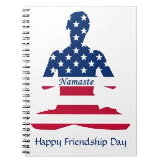 Flag of USA meditation American yoga Notebooks