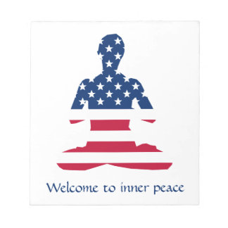 Flag of USA meditation American yoga Notepad