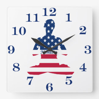 Flag of USA meditation American yoga Square Wall Clock