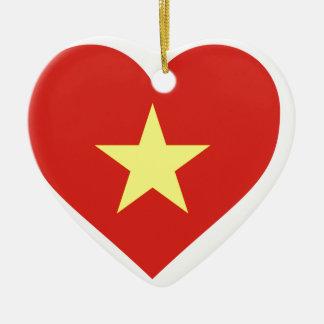 Flag of Vietnam - I Love Viet Nam - Cờ đỏ sao vàng Ceramic Heart Ornament