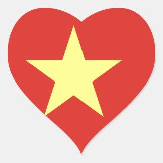 Flag of Vietnam - I Love Viet Nam - Cờ đỏ sao vàng Heart Sticker