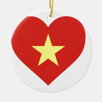 Flag of Vietnam - I Love Viet Nam - Cờ đỏ sao vàng Round Ceramic Ornament