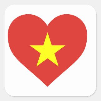 Flag of Vietnam - I Love Viet Nam - Cờ đỏ sao vàng Square Sticker